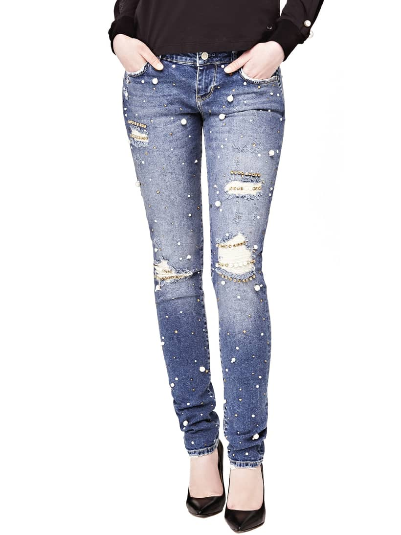 JEANS WITH PEARL DETAILS AND TEARS