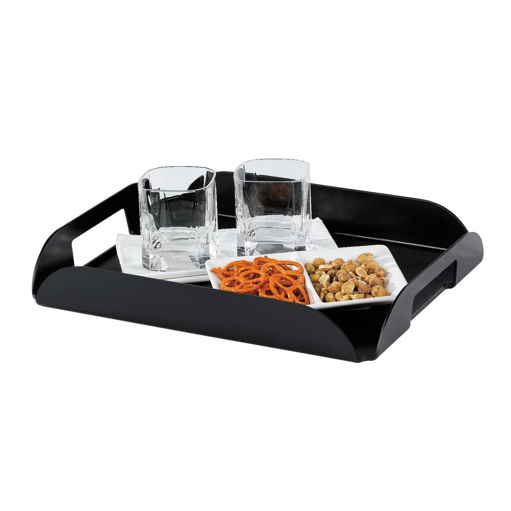 In-Room Rectangular Coffee Tray with Handles, Black