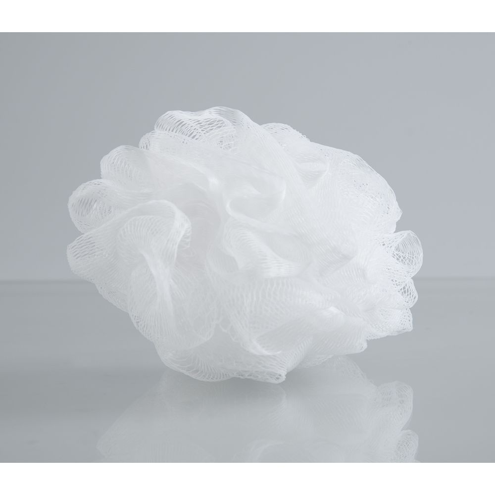 Net Puff Sponge, White in clear cello package
