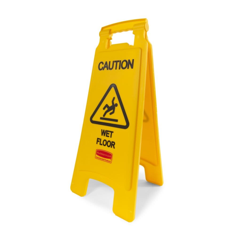 Rubbermaid® 26 In. Caution Wet Floor Sign, 2-Sided, Yellow