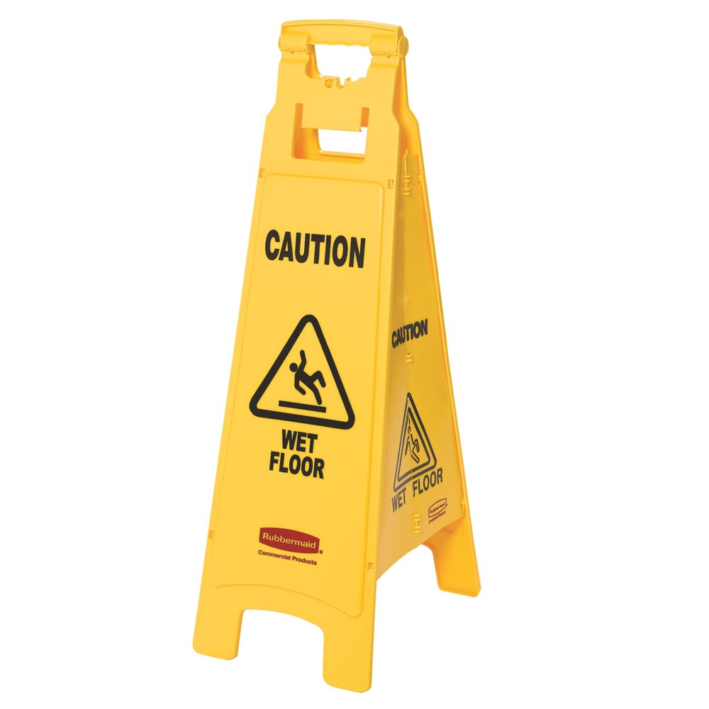 "Rubbermaid® 38 In ""Caution Wet Floor"" Floor Sign, 4-Sided, Yellow"