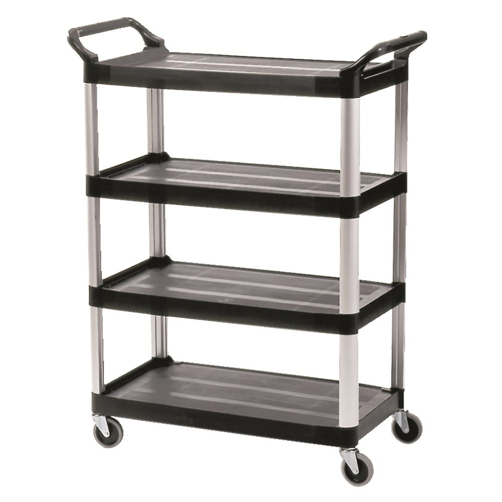 Rubbermaid® 4-Shelf Service Cart, Black