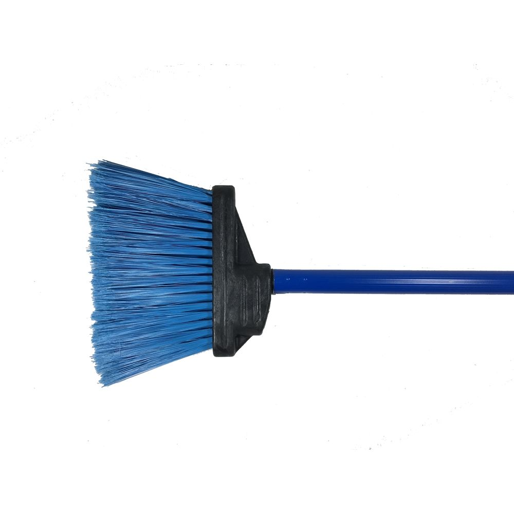 "Better Brush® Duo-Sweep 48"" Lobby Broom Blue Handle, 4"" Trim Blue Flagged Poly"