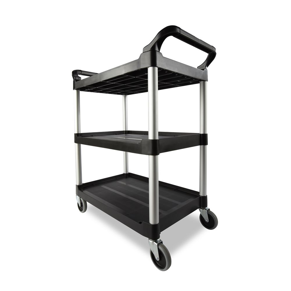 Rubbermaid® Service Cart with 4 In. Swivel Casters, 33.63 In.l x 18.63 In. w x 37.75 In. h Black