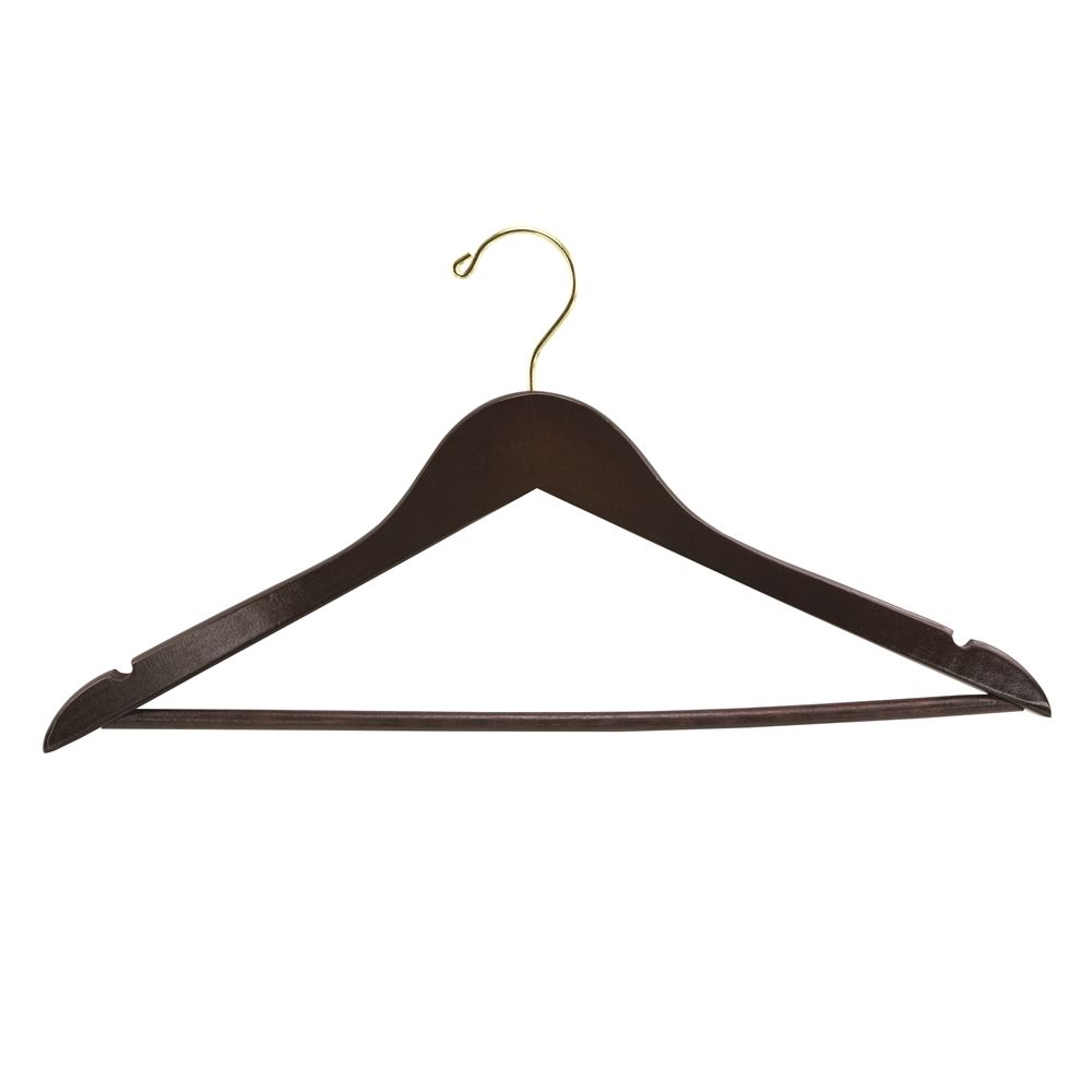Men's Hanger, Flat Open Hook with Dowel Bar, Walnut with Brass Hook