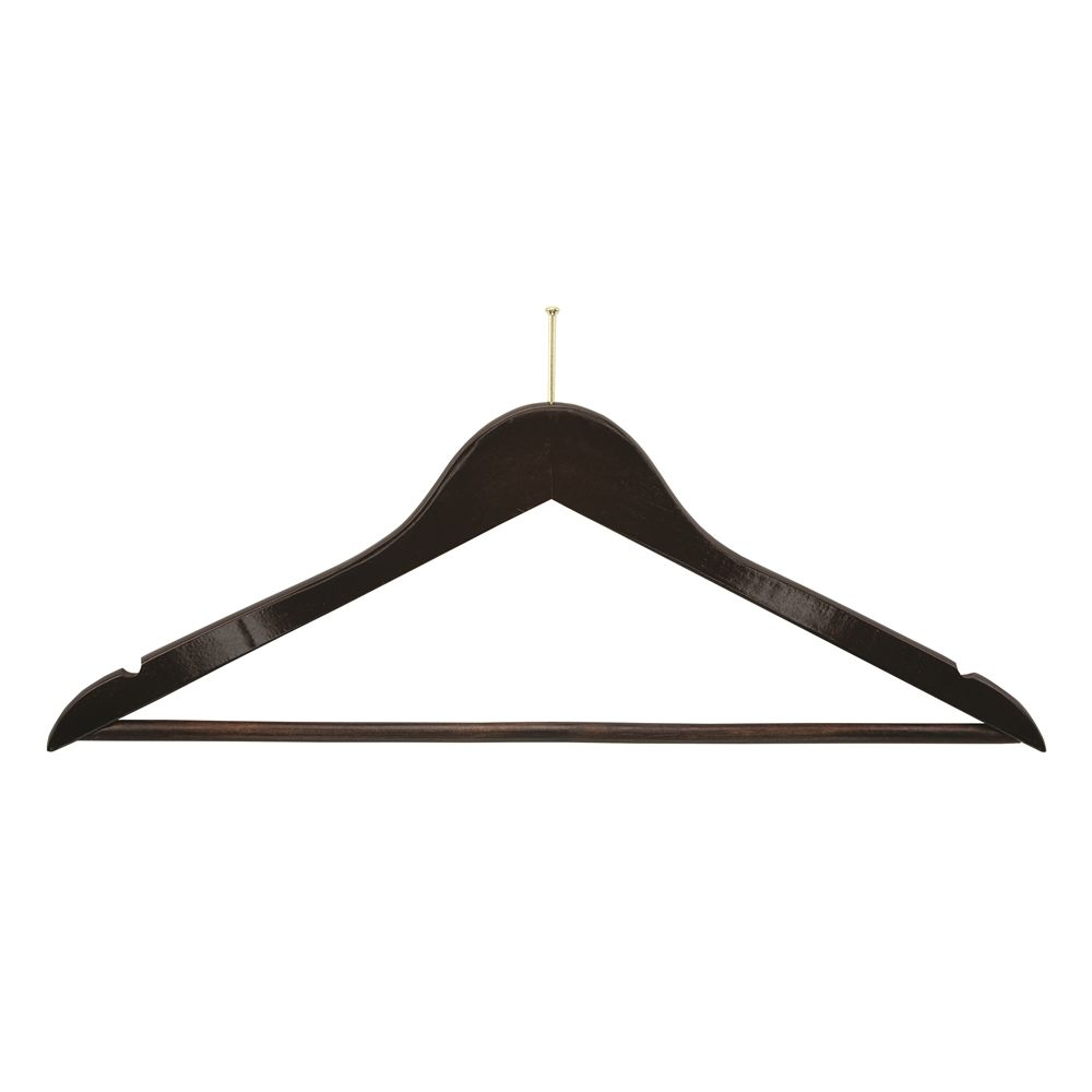 Men's Walnut Hanger, Flat Ball Top with Dowel Bar and Brass Hook