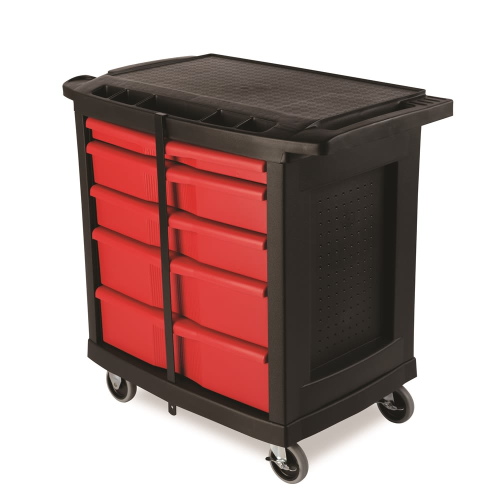 "Rubbermaid® 5-Drawer Mobile Work Center, 32.63""l x 19.9""w x 33.5""h, Black / Red"