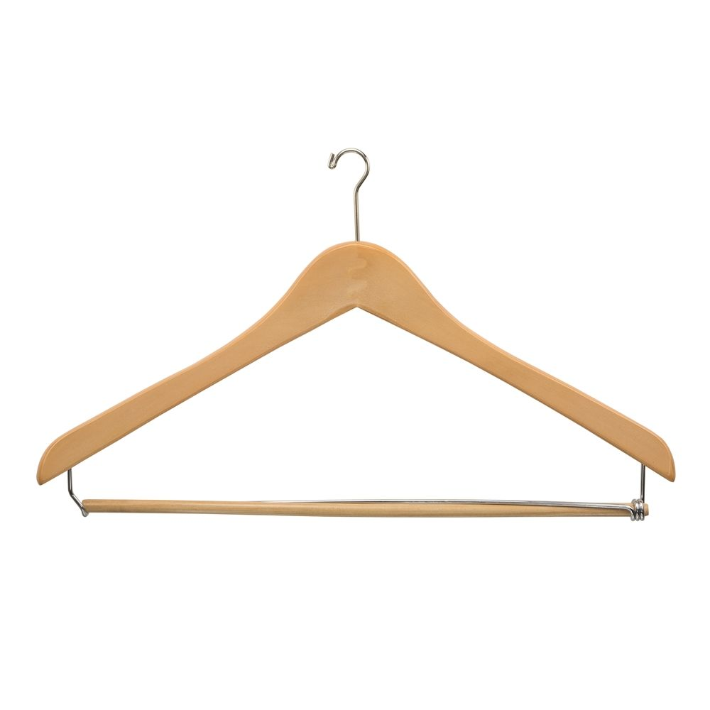 Men's Hanger, Mini Hook Contour with Locking Bar, Natural with Nickel Hook
