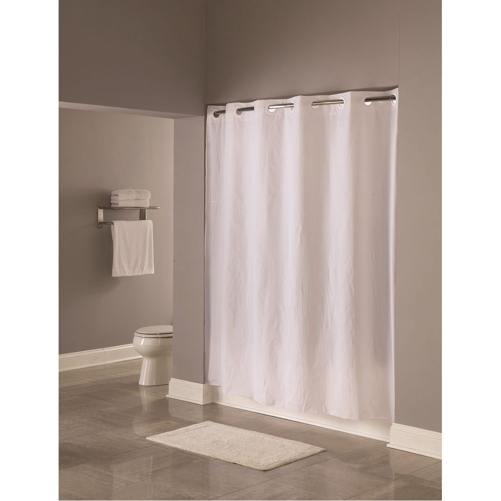 "Hookless® Pin Dot Shower Curtain, 8 Gauge Vinyl, 71""x74"", White"