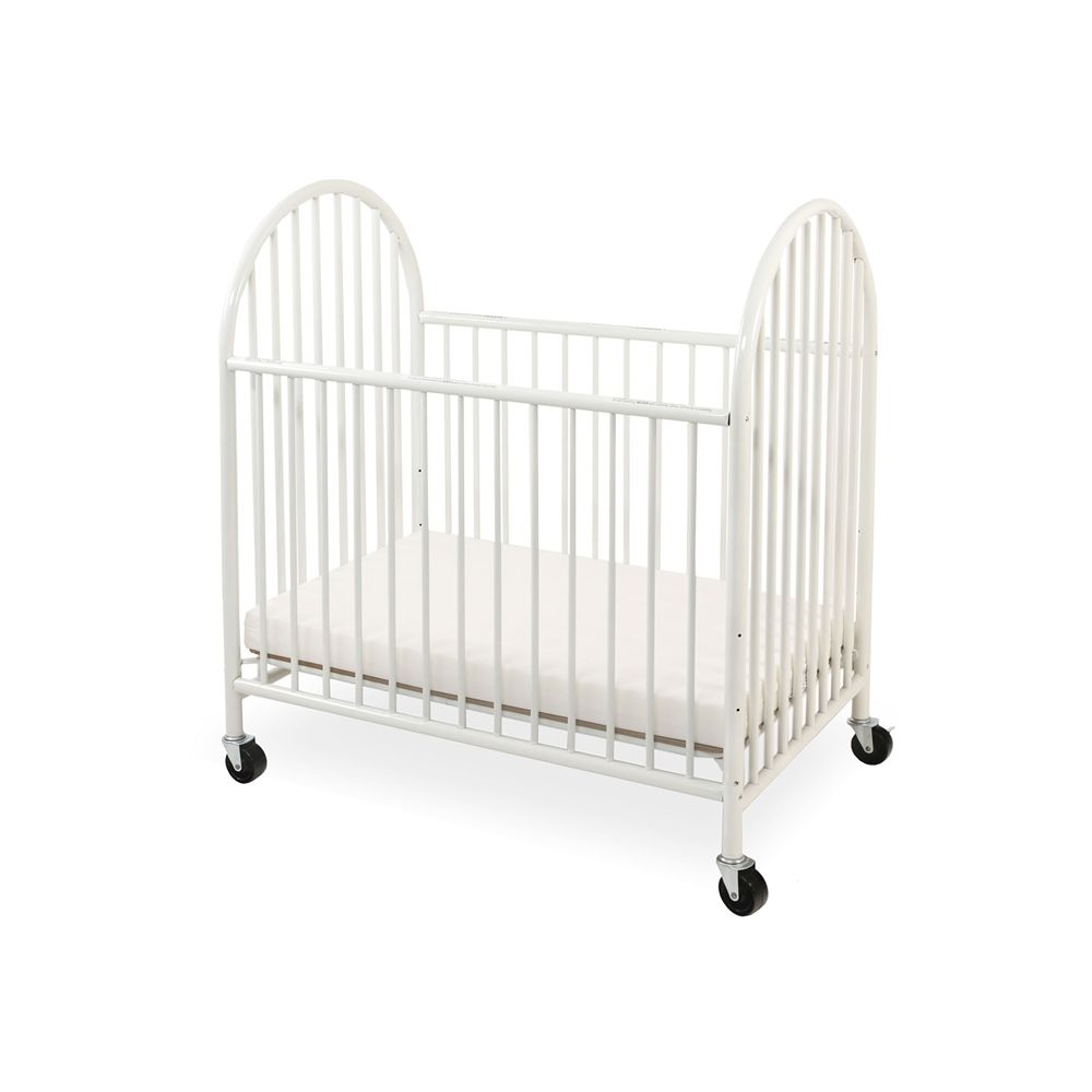 Arched Metal Mini Portable Crib with Storage Cover, White
