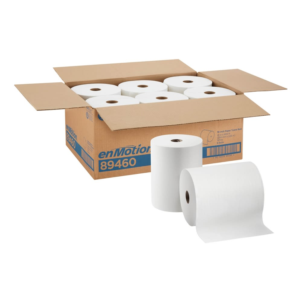 enMotion 10in Paper Towel Roll by GP PRO, White, 800 Feet Per Roll, 6 Rolls Per Case