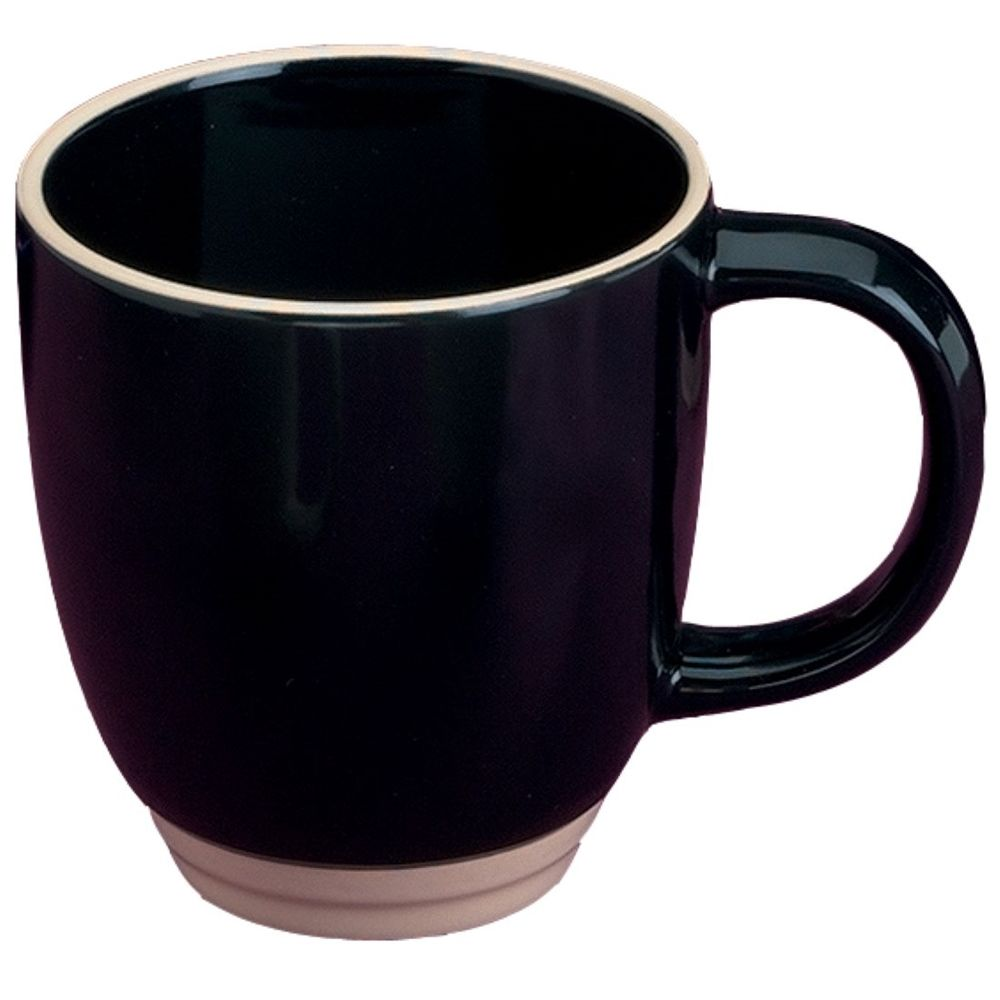 Bistro Mug 14 oz. Black with Almond Trim