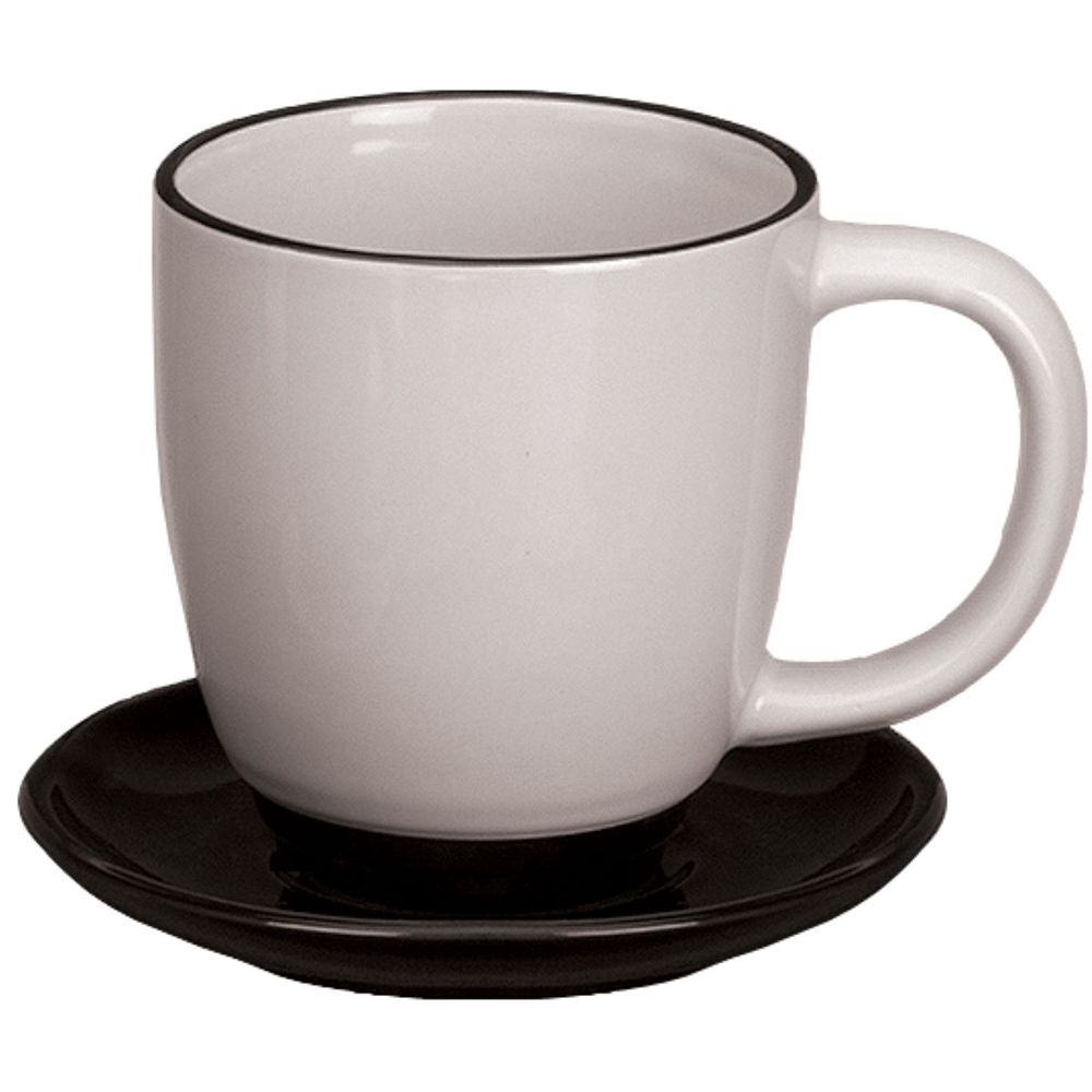 Bistro Mug 11 oz. Almond with Black Trim