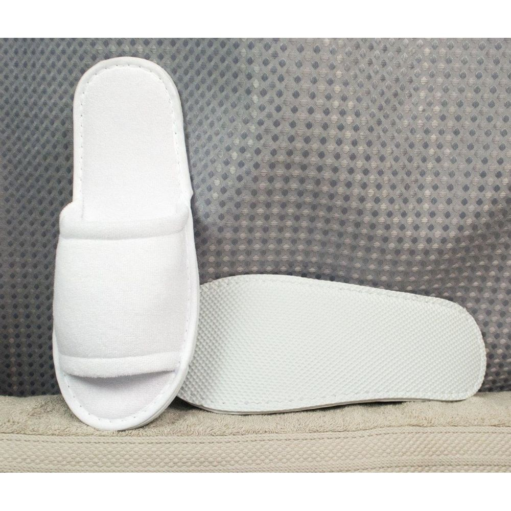 Kartri Economy Terry Slippers, Open Toe, Unisex Large, White Poly Vinyl Soles