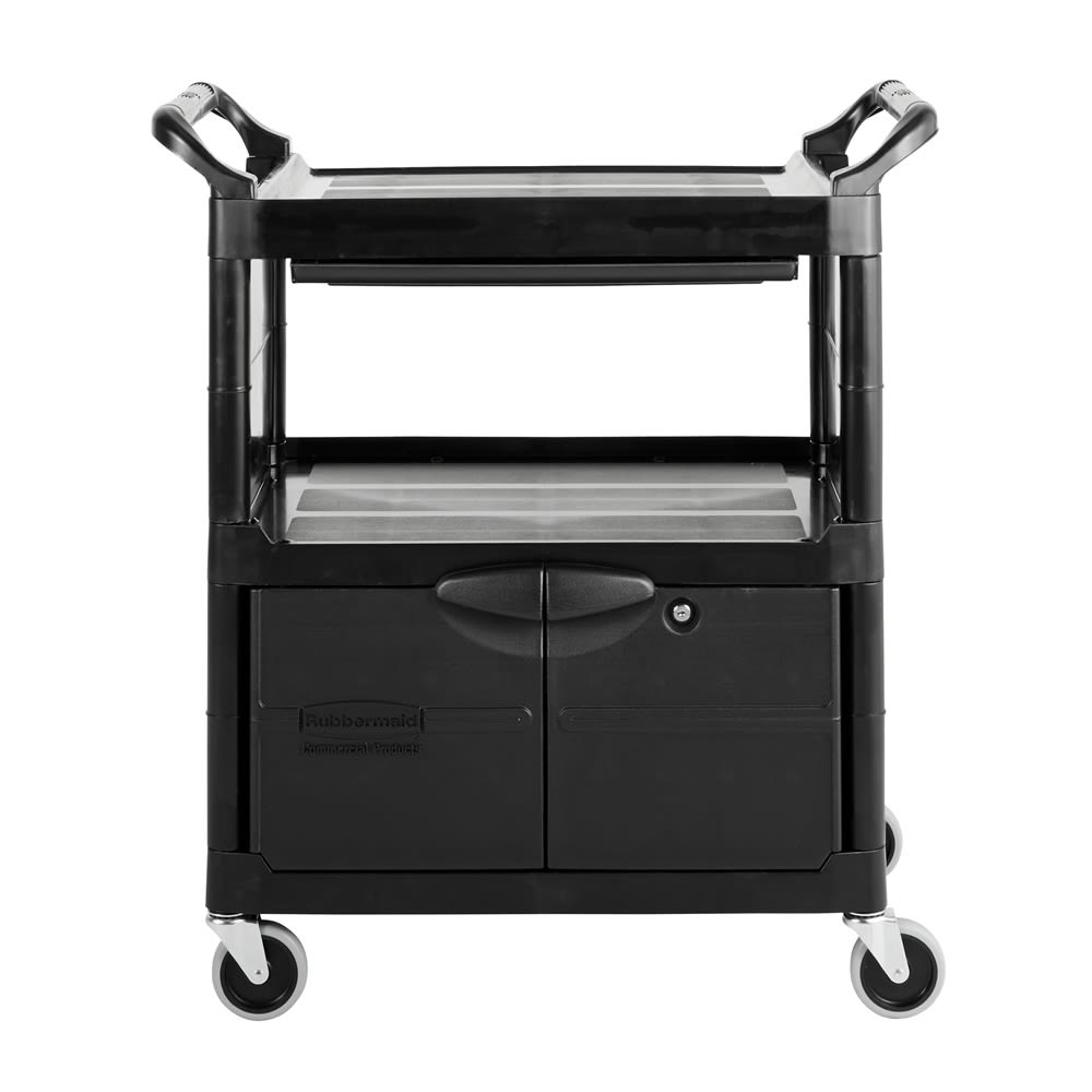 Rubbermaid® Service Cart with Lockable Doors and Sliding Drawer, Black