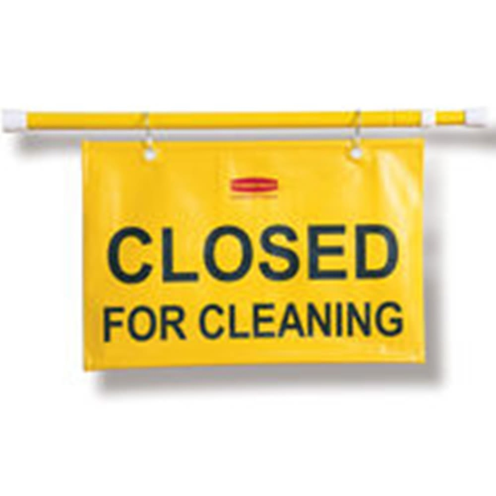 Rubbermaid® 28 In to 50 In Closed for Cleaning Hanging Doorway Safety Sign, Yellow