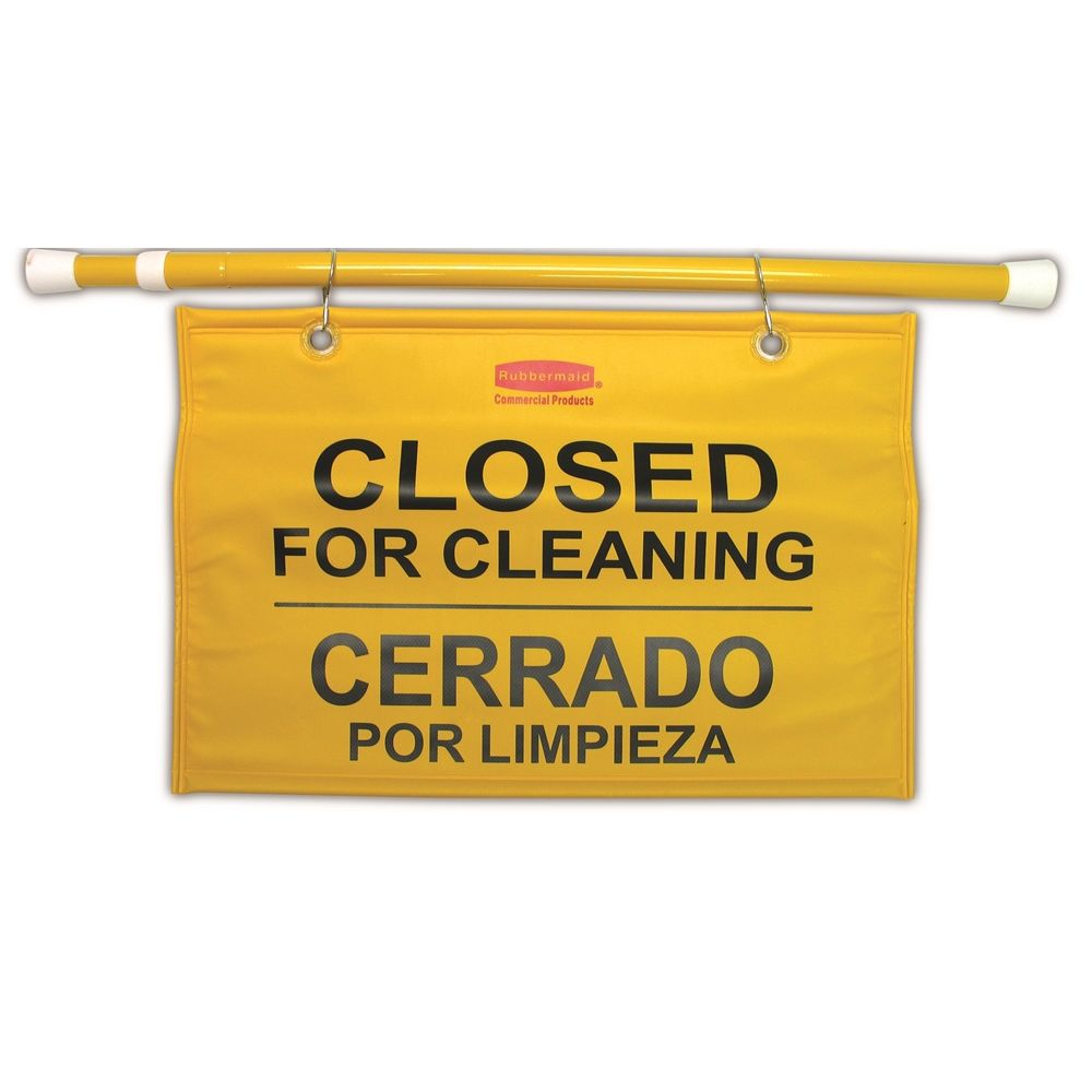 "Rubbermaid® 28 In - 50 In Multilingual ""Closed for Cleaning"" Hanging Doorway Safety Sign, Yellow"