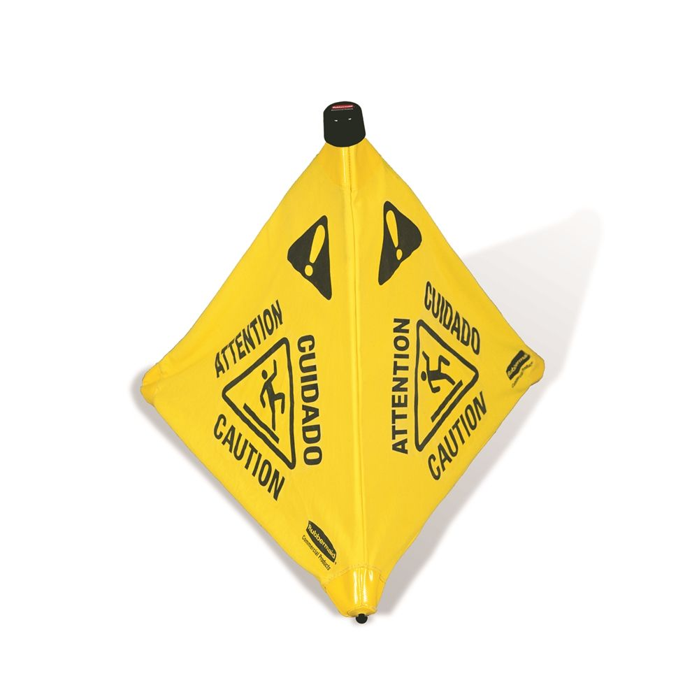 Rubbermaid® 30 In. Multilingual Caution Wet Floor Pop-Up Floor Cone, Yellow