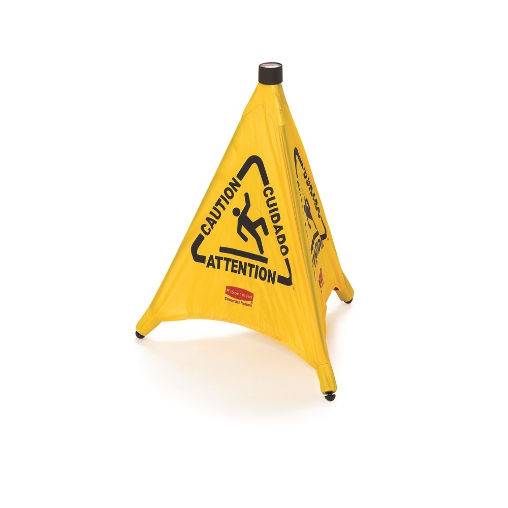 Rubbermaid® 20 In. Multilingual Caution Wet Floor Pop-Up Floor Cone, Yellow