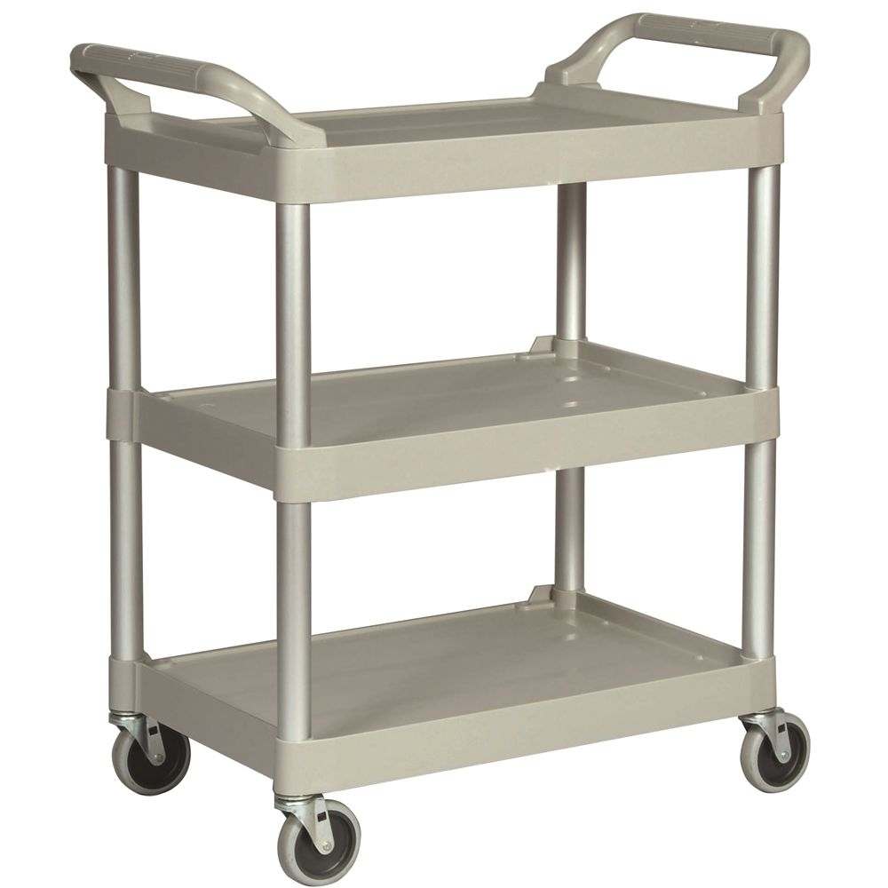 Rubbermaid® Service Cart with 4 In. Swivel Casters, Platinum