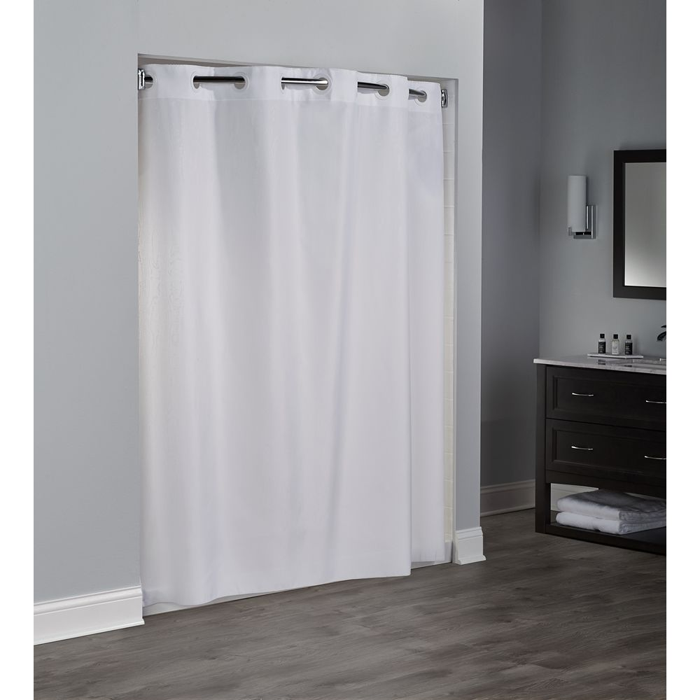 Hookless® Embossed Moire Shower Curtain, Polyester, 71x74, White