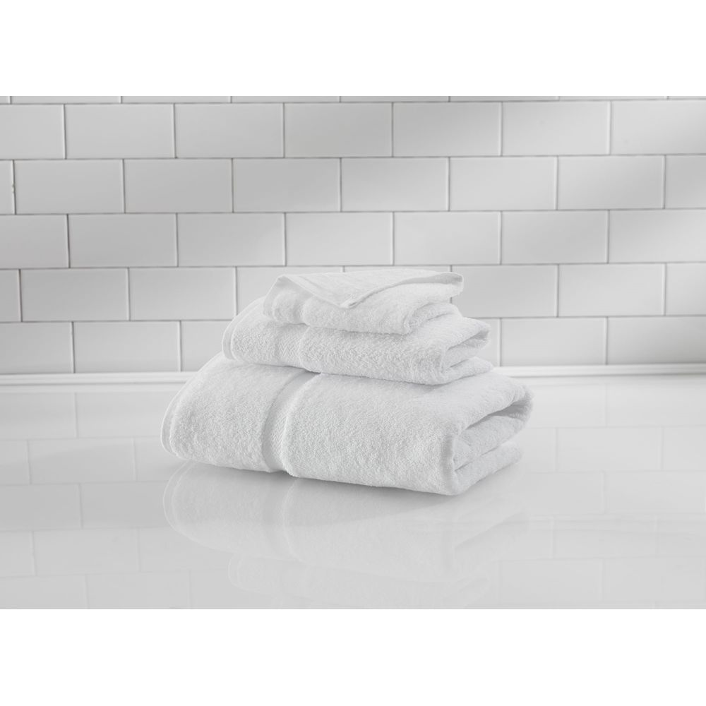 Crown Touch Bath Towel, Cotton Dobby Border, 27x50, 14.0 lbs/dz, White
