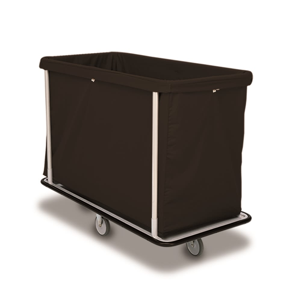 Forbes® Laundry Cart, 15 Bushel, 48.5 × 23.5 × 39 in, Silver Frame, Black Bag, 2 Swivel, 2 Rigid