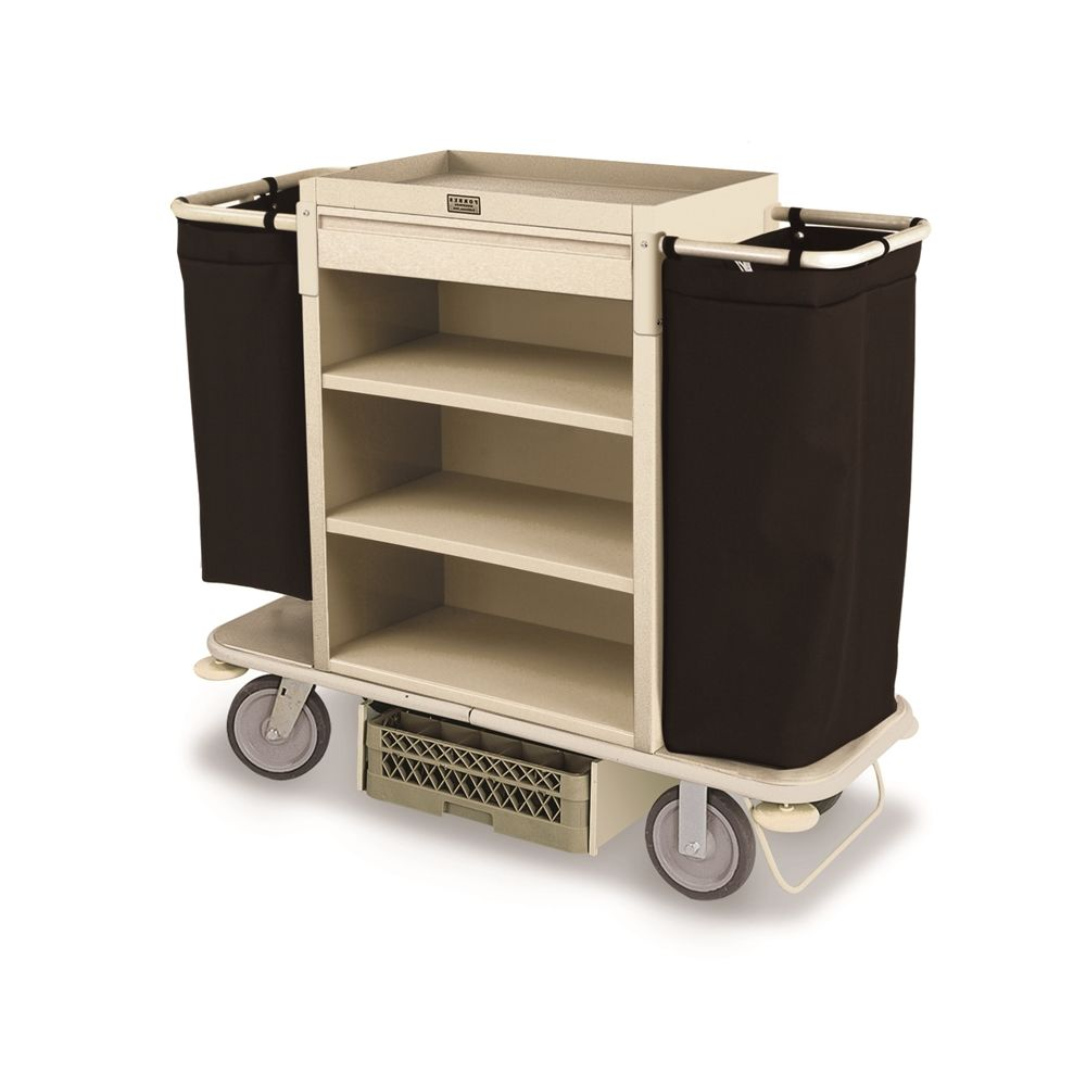 Forbes® Housekeeping Cart, Plastic, 3-Shelves, 56 x 20.5 x 49, Beige