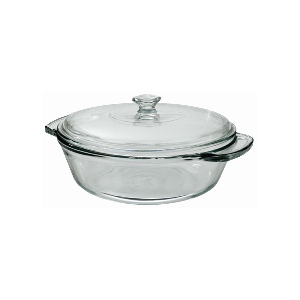 Anchor® Glass Casserole Dish with Lid, 2qt, Clear