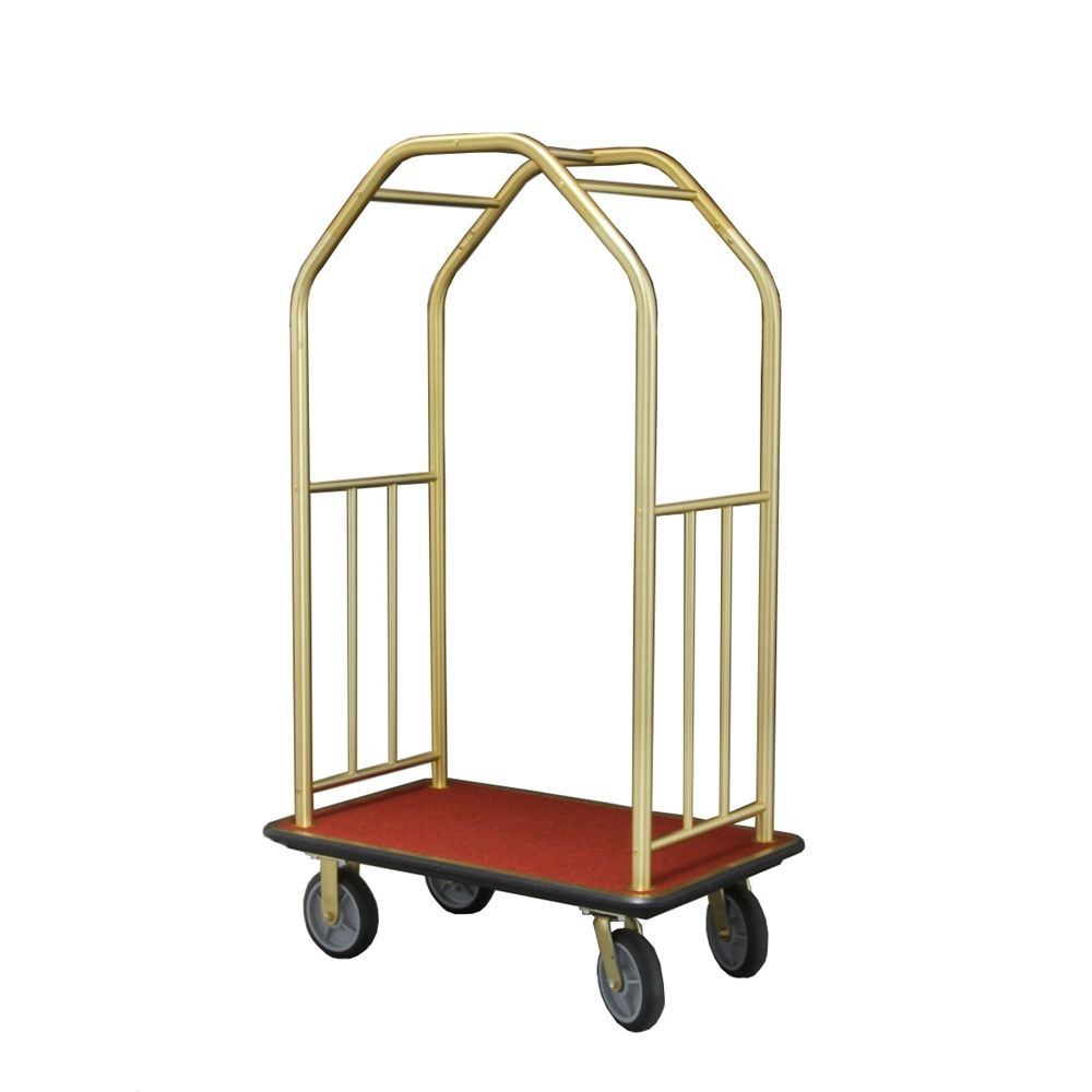 "Bellman Cart 41"", Four Wheel, Burgundy Carpet, Black Bumper & Wheels, Brass"