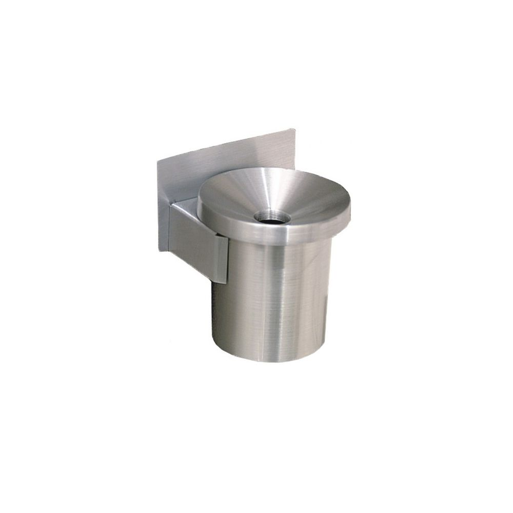 Funnel Top Wall Mount Ashtray, 6in, Satin Aluminum