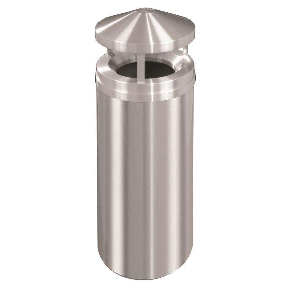 Canopy Top Waste Receptacle Satin Aluminum 16 Gallon