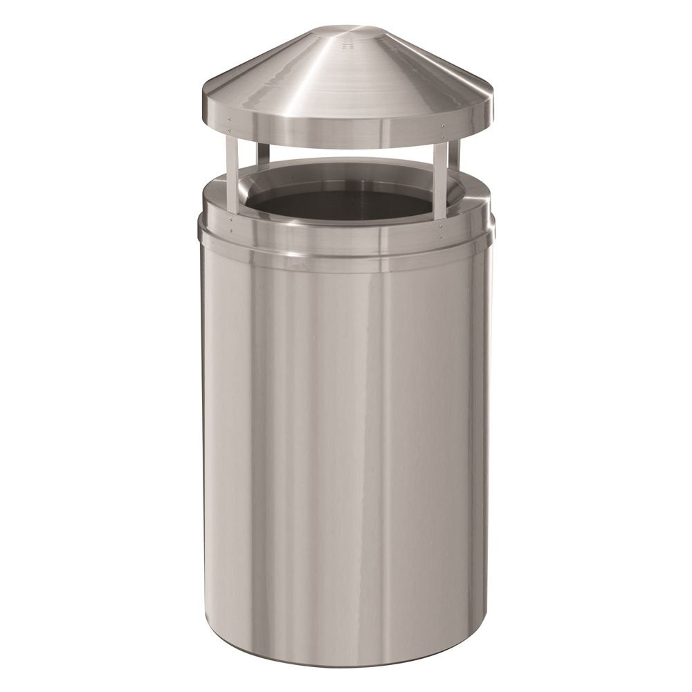 Canopy Top Waste Receptacle, 33 Gallon, Satin Aluminum