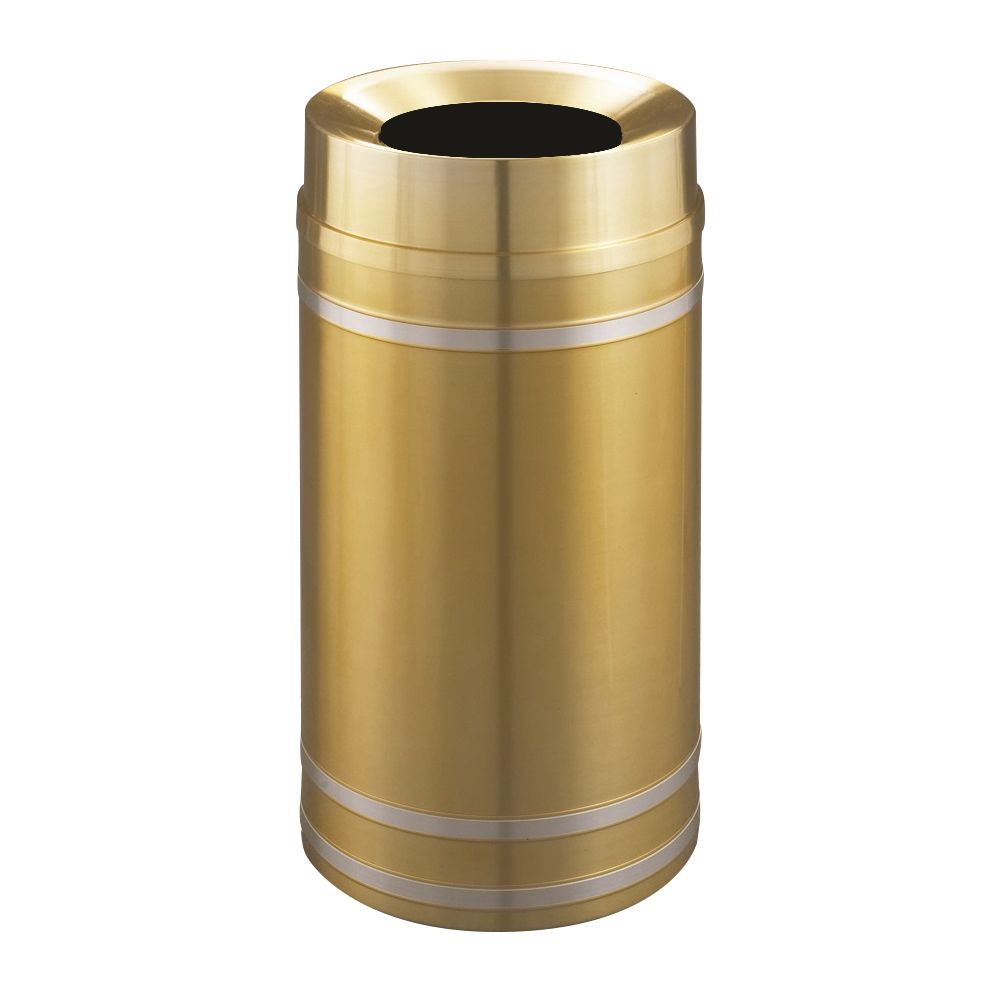 Capri Funnel Top Trash Receptacle, 16 Gallon, Satin Brass with Satin Aluminum Bands