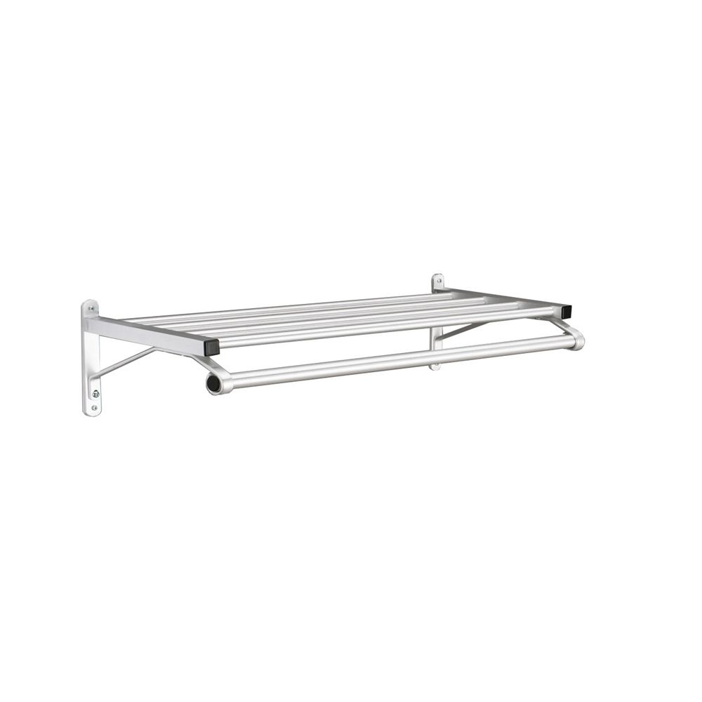 "Coat Rack, 1 Shelf with Hanger Bar, Wall Mount, 24"", Satin Aluminum"