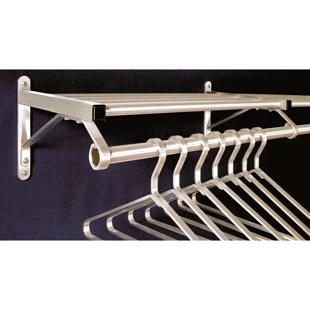 "Coat Rack, Wall Mount 1 Shelf with Hanger Bar, 30"", Satin Aluminum"