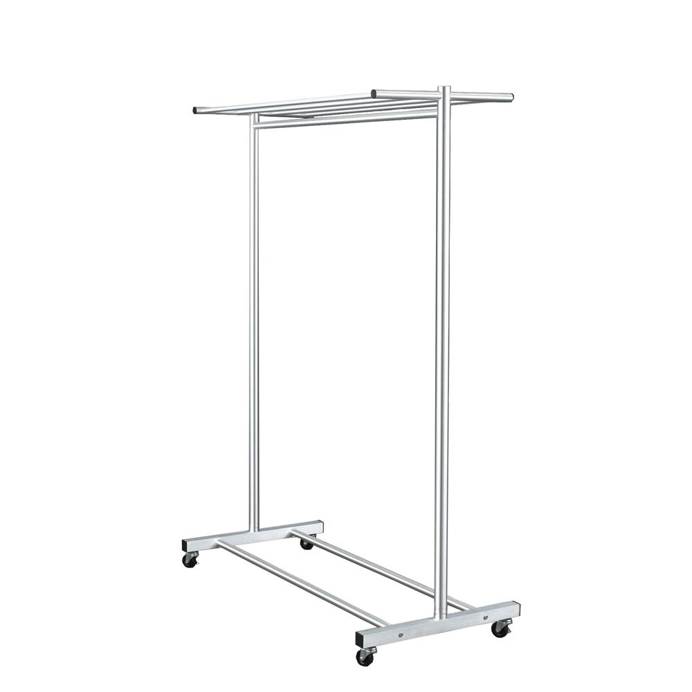 Wardrobe Rack with Casters, 16-20 Coat Capacity, 22Wx64Hx48L, Satin Aluminum