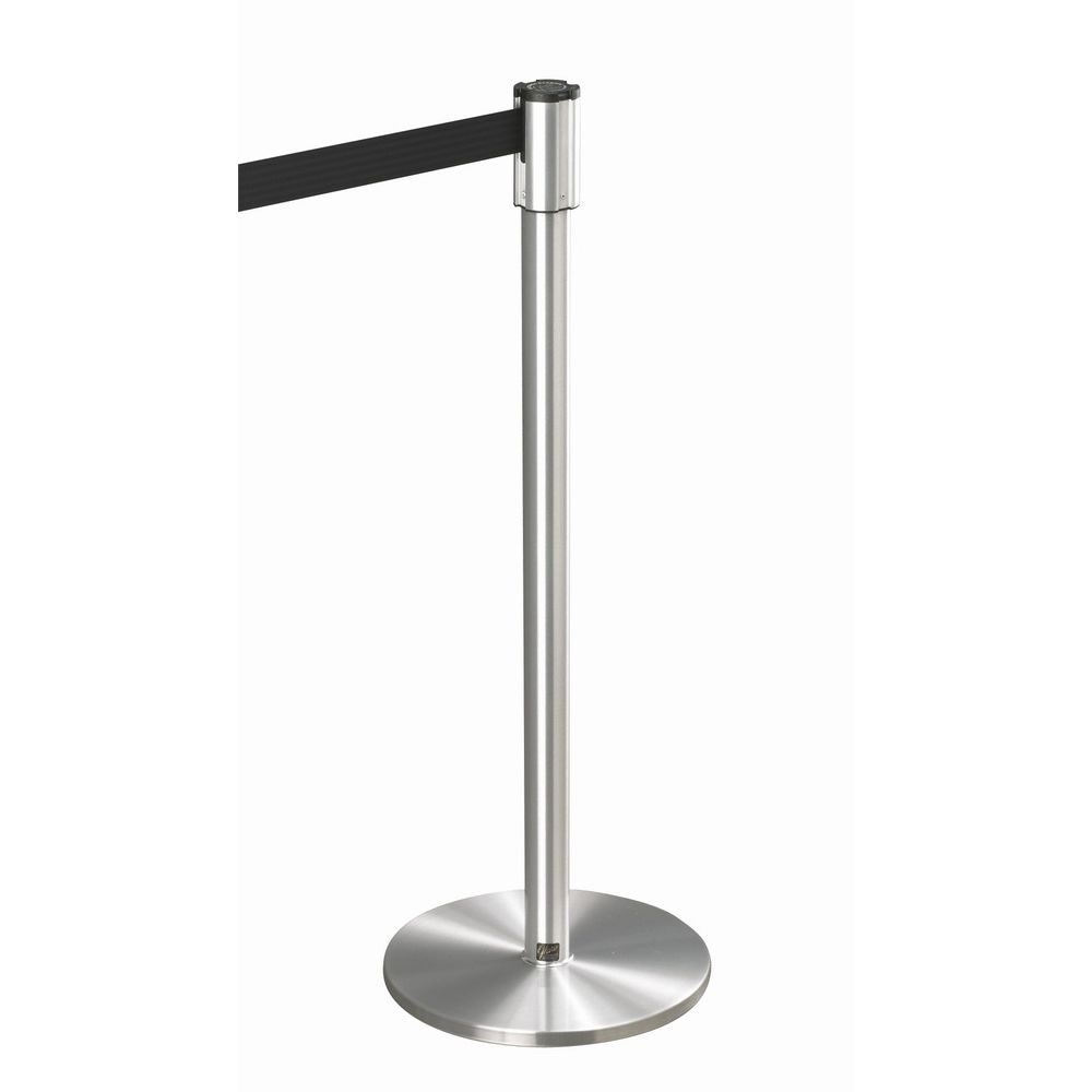 Crowd Control Extenda-Barrier Post with 7 Foot Strap, Flat 14in Diameter Base, Satin Aluminum