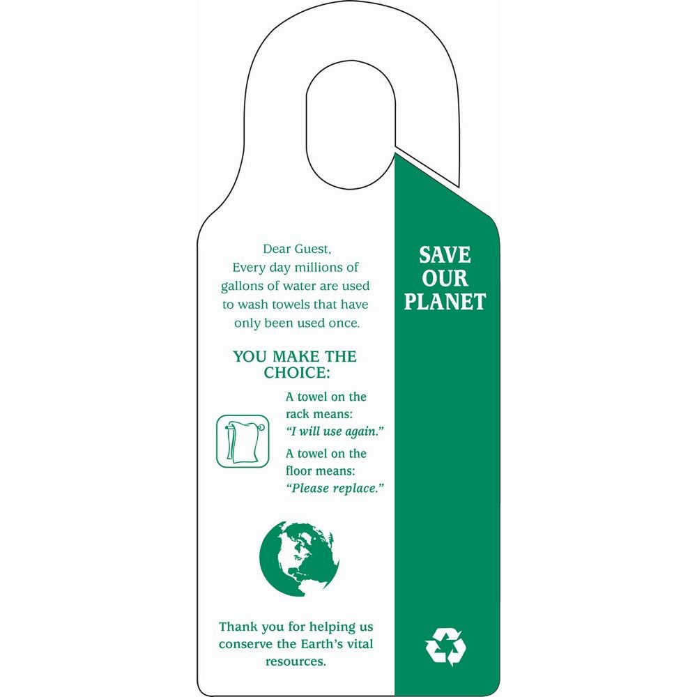 Sign - Save Our Planet/Towel Conservation Hanging Sign, 7.88 x 3.5, White/Green