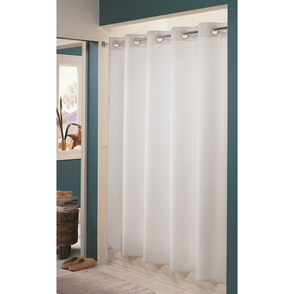 "Hookless® Evolon Shower Curtain, Nylon, 71""x74"", White"