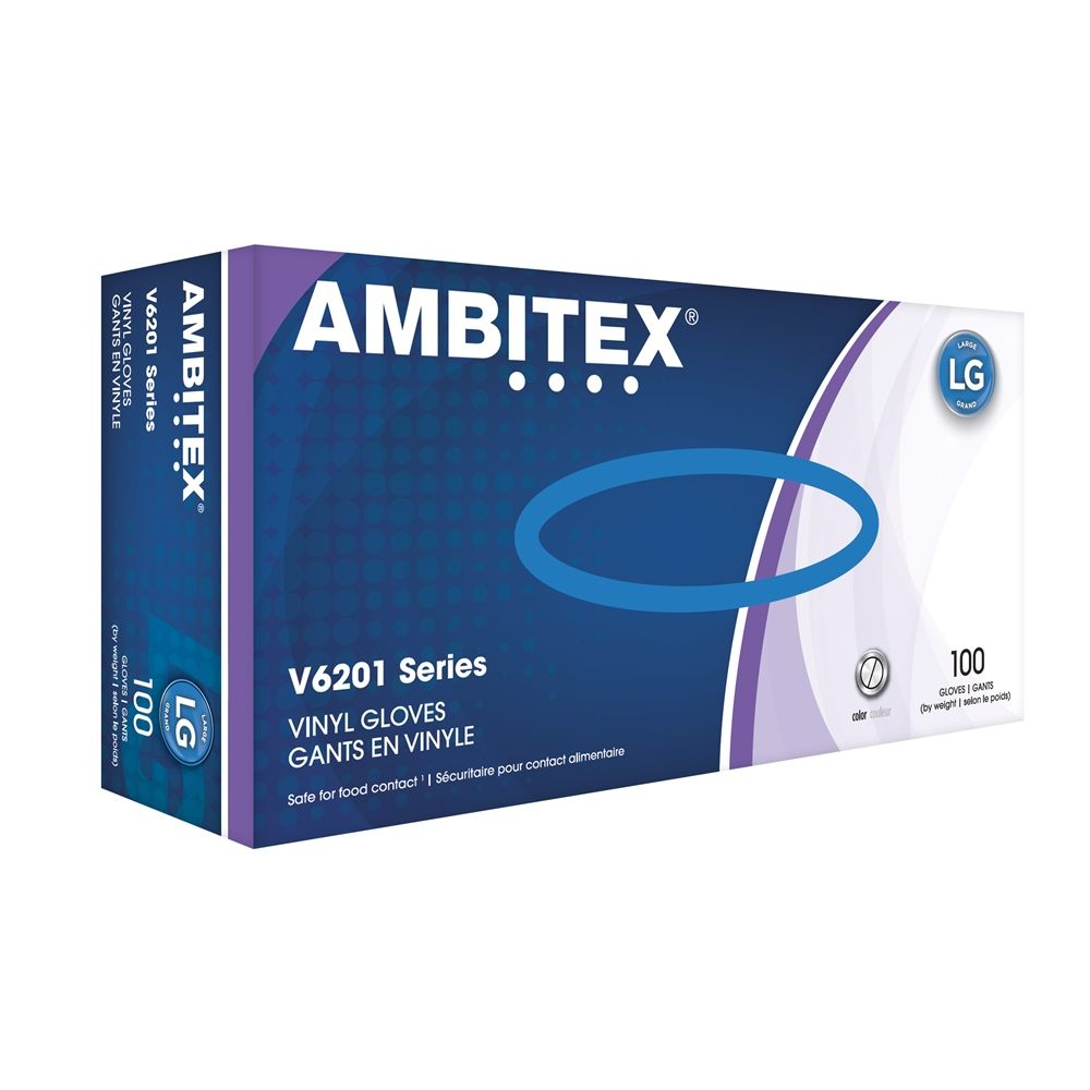 Ambitex® Vinyl Gloves Powder Free, Clear, Large 100/box