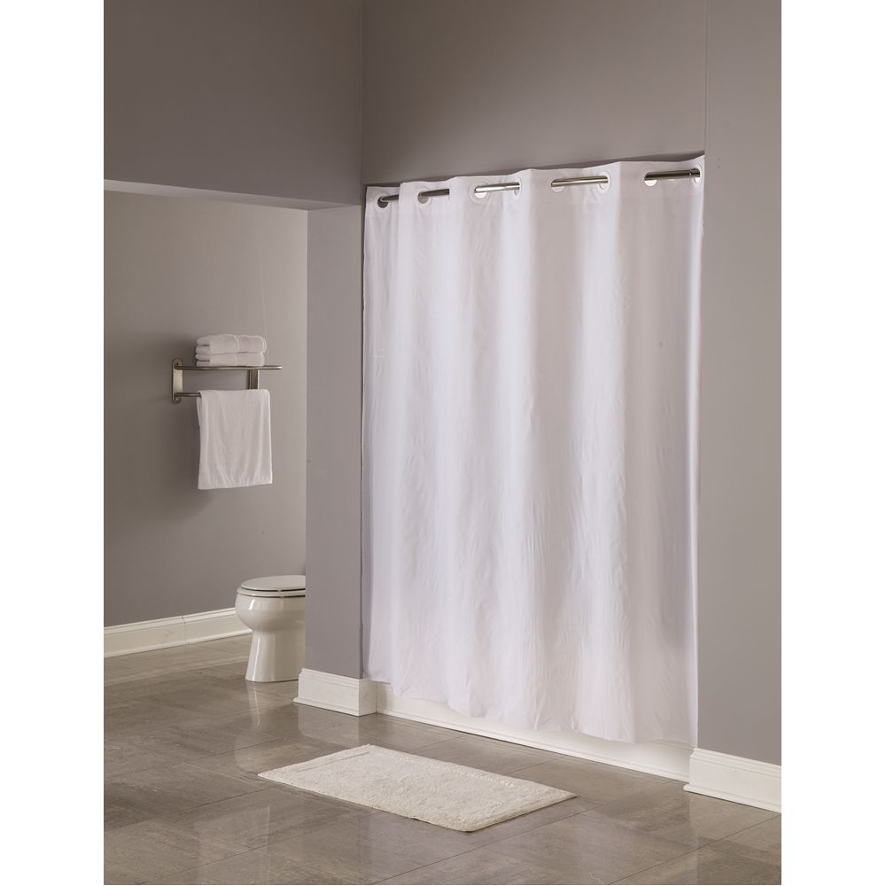 "Hookless® Pin Dot Shower Curtain, 8 Gauge Vinyl, 71""x77"", White"