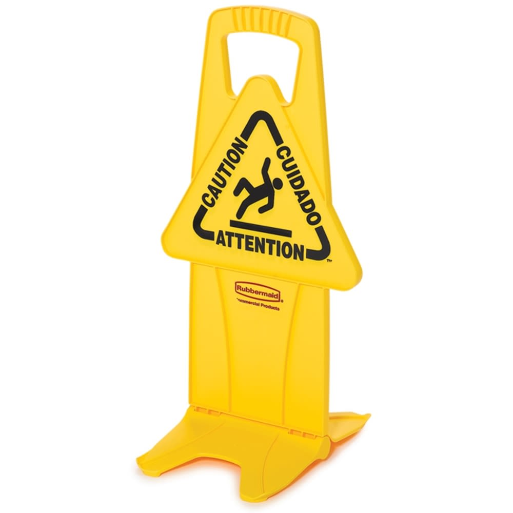 "Rubbermaid® 26 In Multilingual ""Caution"" Stable Safety Sign, 2-Sided, Yellow"