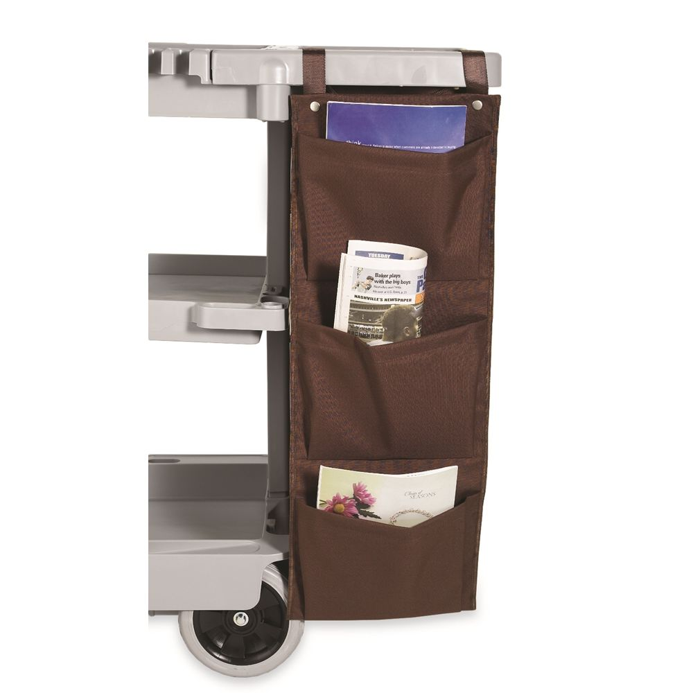 Hospitality 1 Source® XDuty® Housekeeping Cart Caddy Bag, 3 Pocket 600D, 12 x 33, Brown