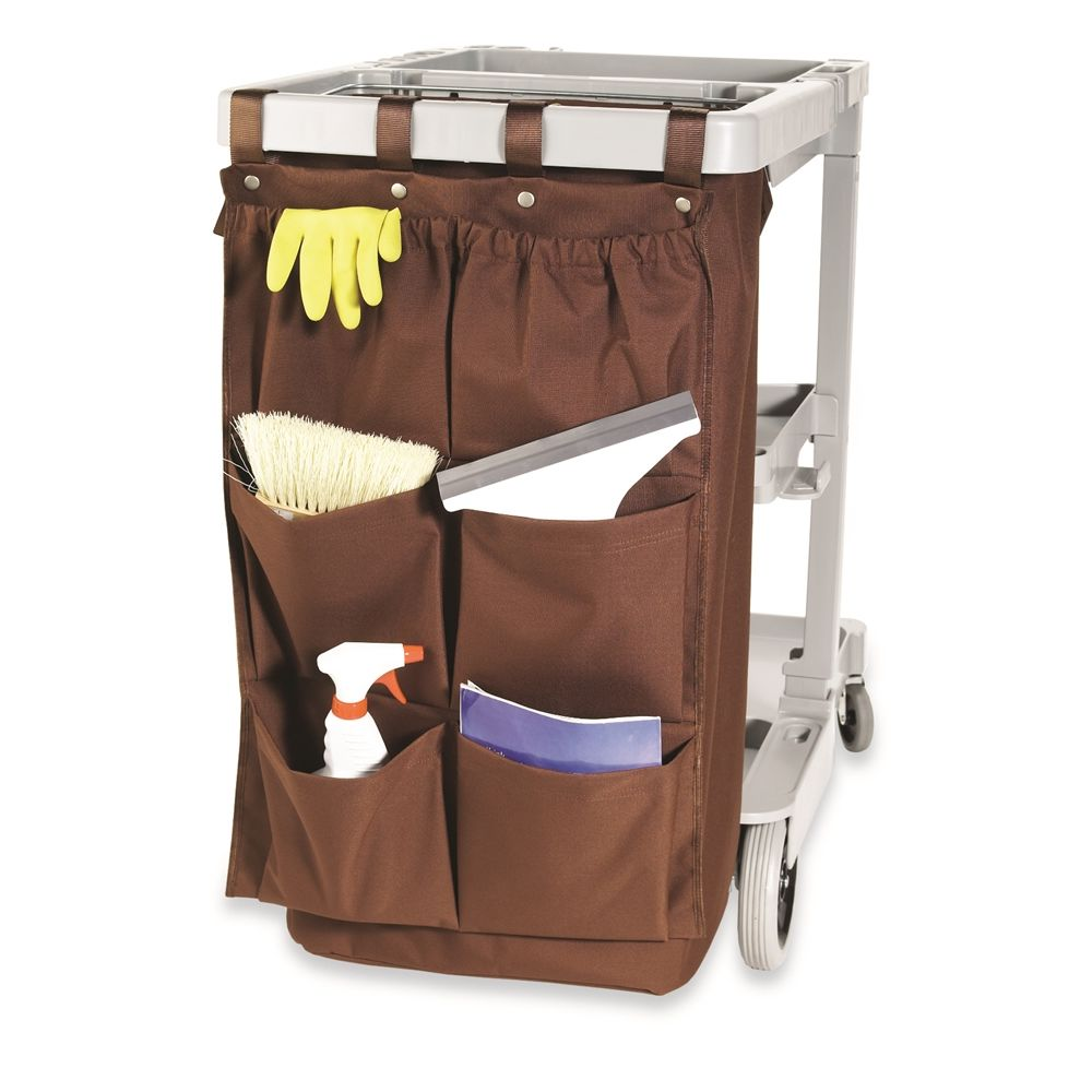 Hospitality 1 Source® XDuty® Housekeeping Cart Caddy Bag, 6 Pocket 600D, 19 x 32, Brown