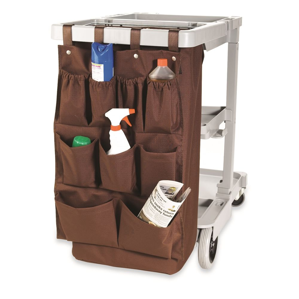 Hospitality 1 Source® XDuty® Housekeeping Cart Caddy Bag, 9 Multipurpose Bag, 19 x 32, Brown