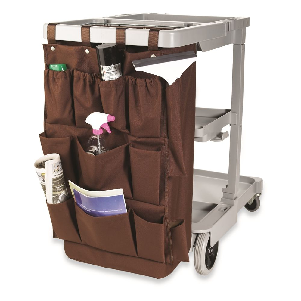 Hospitality 1 Source® XDuty® Housekeeping Cart Deluxe Caddy Bag,12 Pocket, 21 x 32, Brown