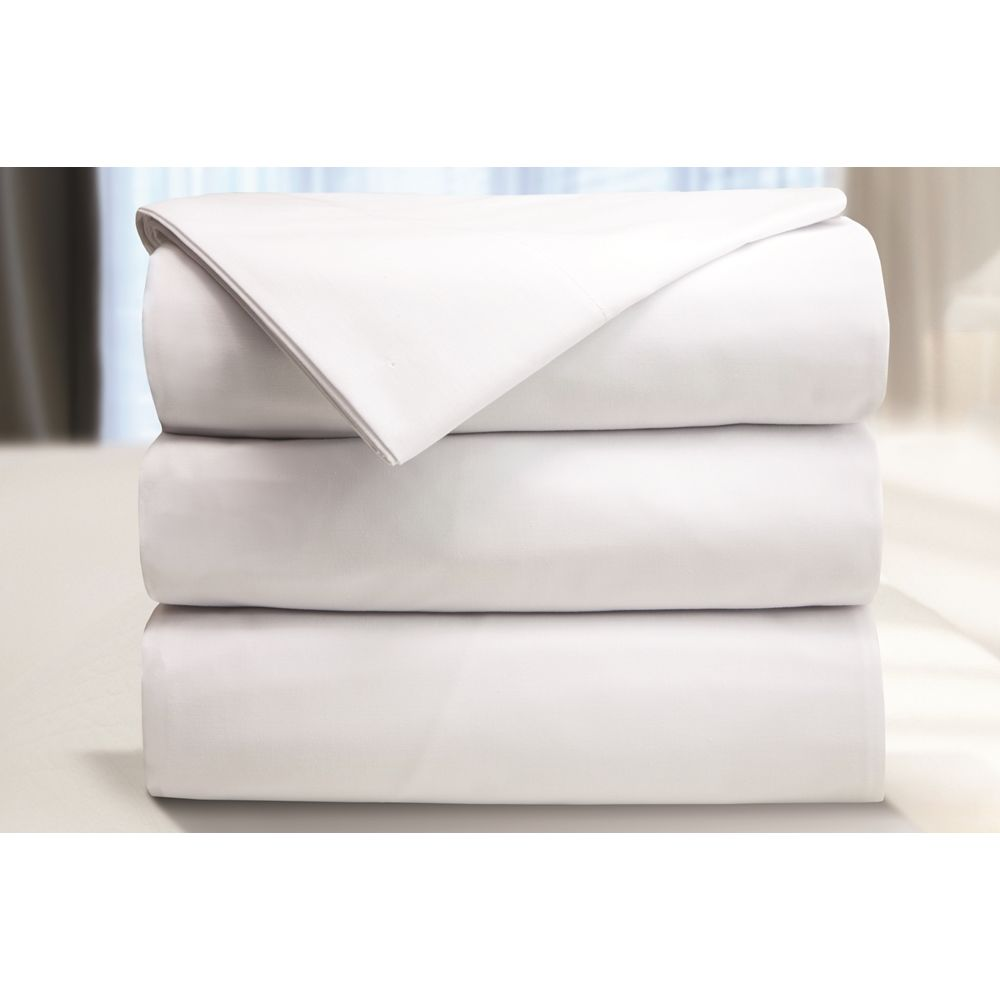 Centex T180 Blend Plain Weave, Full XL/Double XL Flat Sheet, 81x120 CS, White
