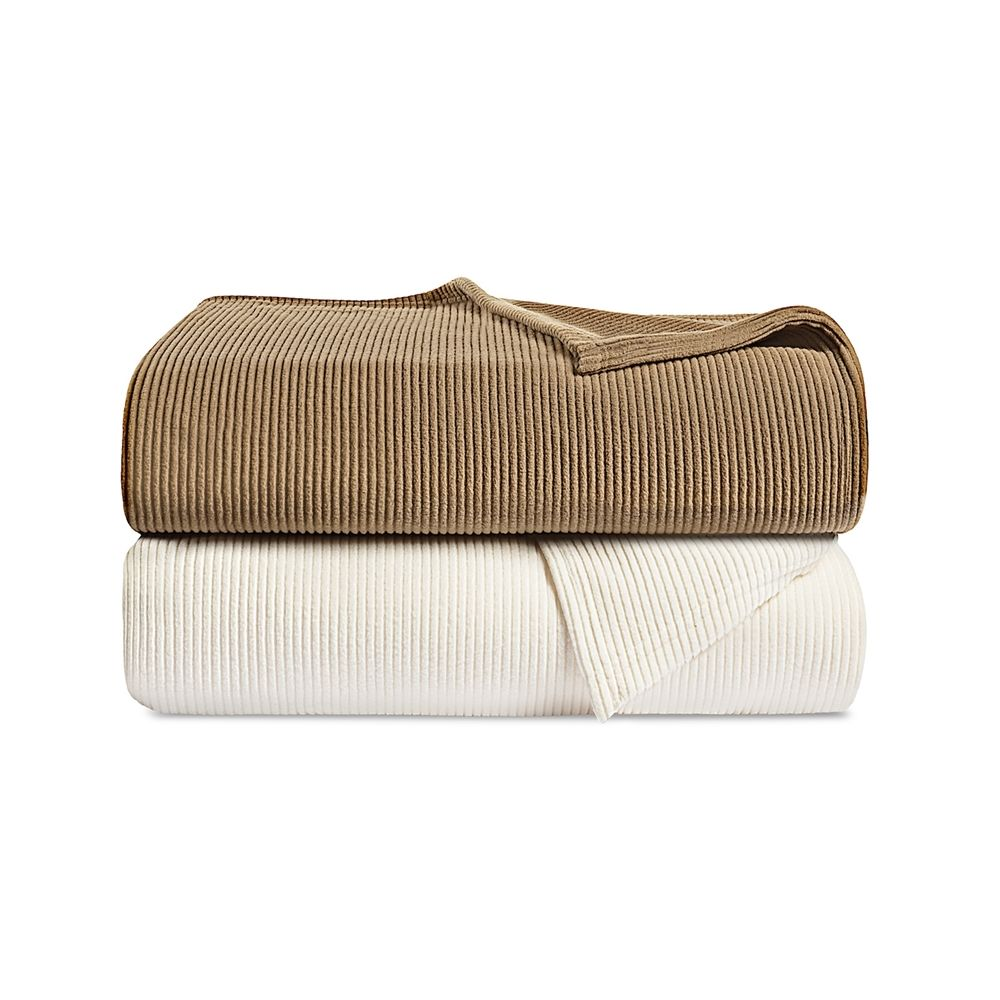 Centex Ribbed Fleece Blanket, Queen 90x90, 2.73 lbs, Sand