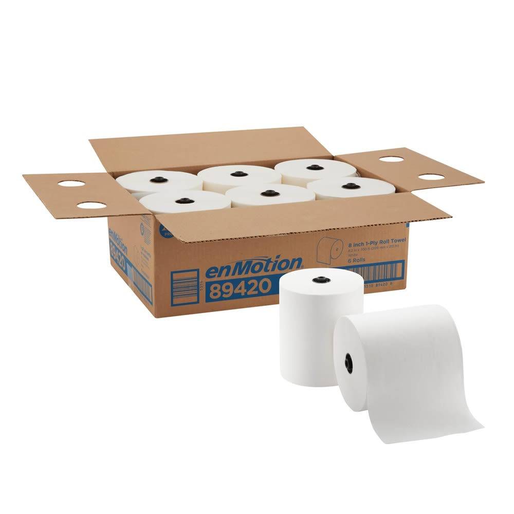 enMotion 8in Paper Towel Roll by GP PRO, White, 700 Feet Per Roll, 6 Rolls Per Case